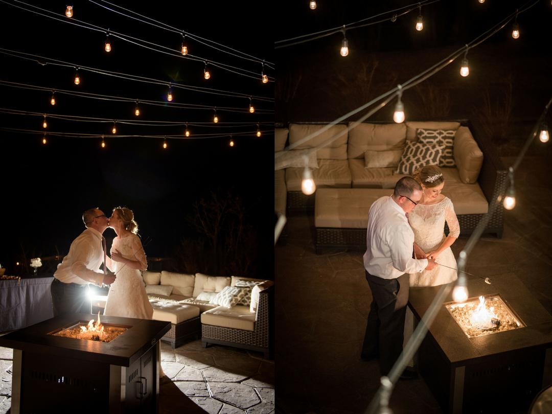 bonfire winter wedding