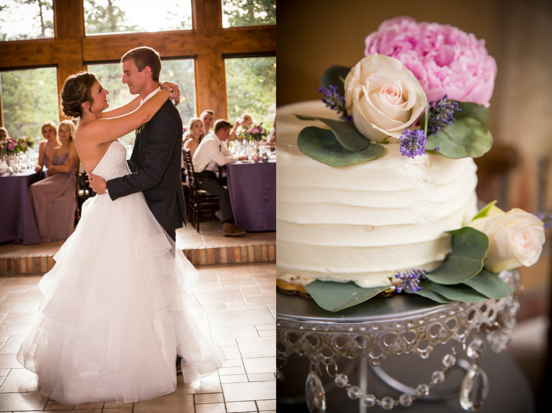 bride and groom first dance and wedding cake