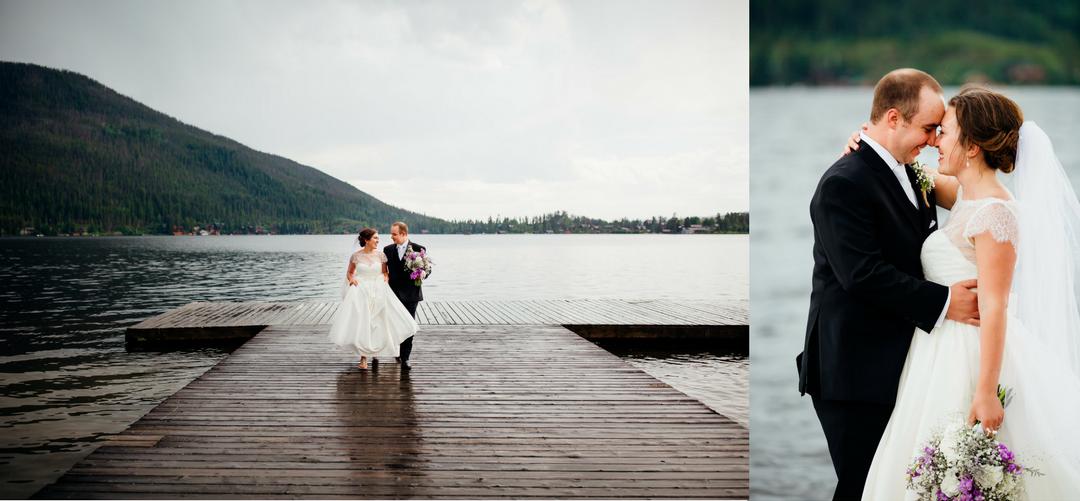 bride and groom at grand lake