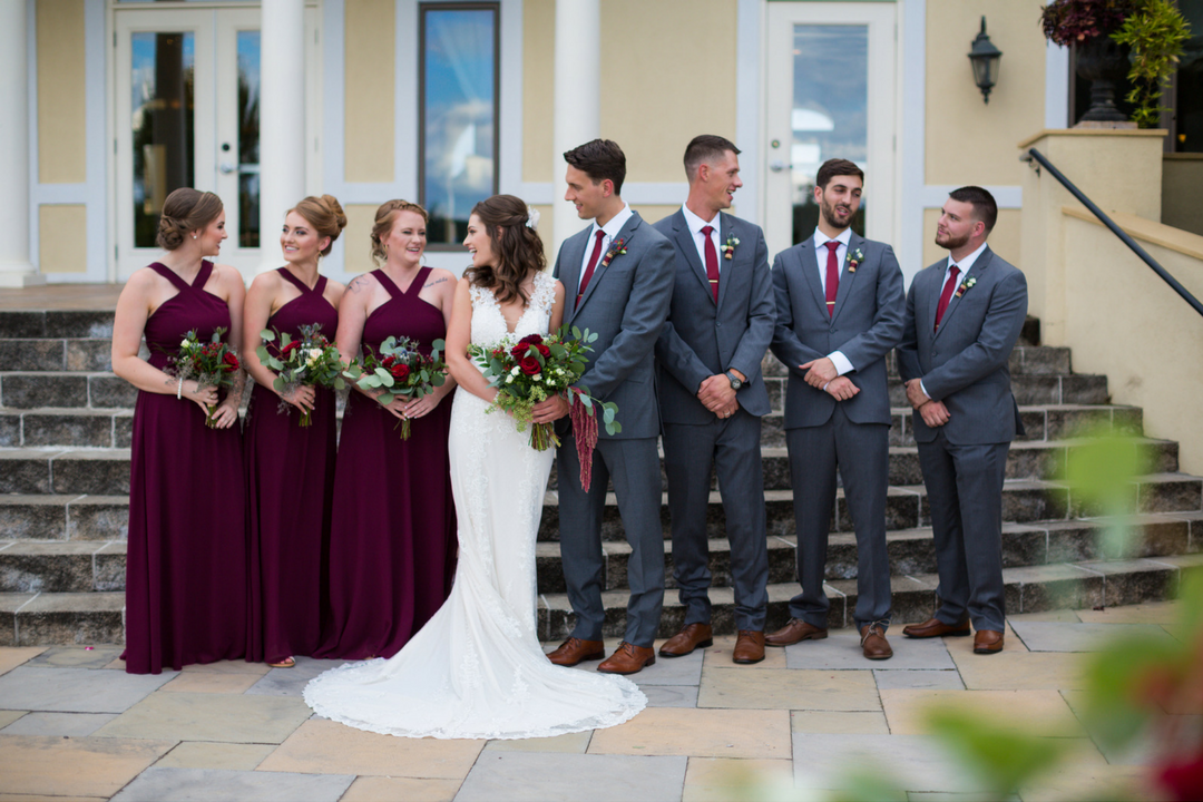Burgundy and gray bridal party