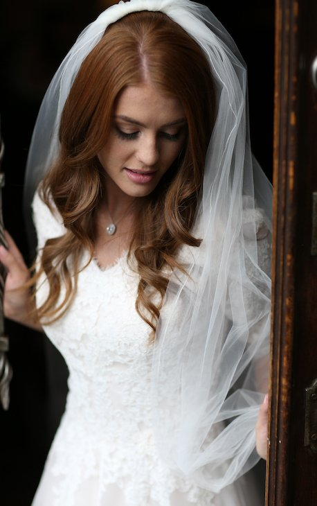 modest wedding dress with veil