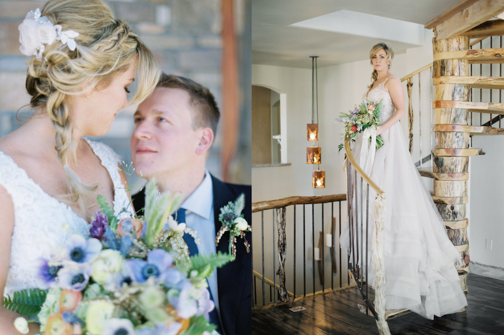 bride posing on stairs at 1C barn