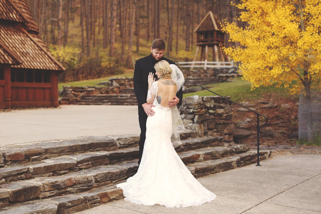 fall outdoor wedding with low back wedding dress