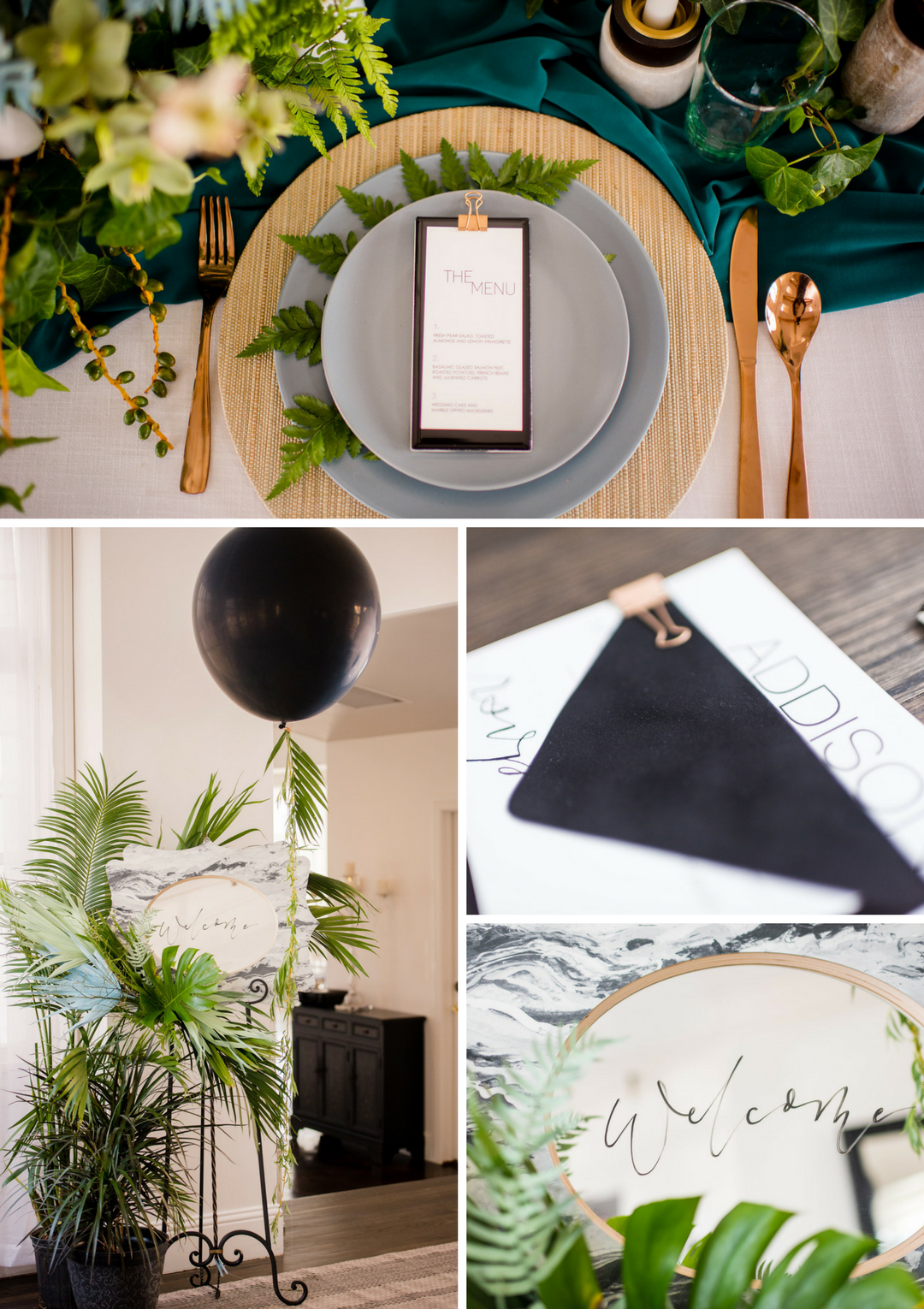 manor house wedding modern black details