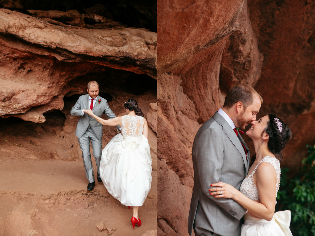 bride and groom climbing at red rocks