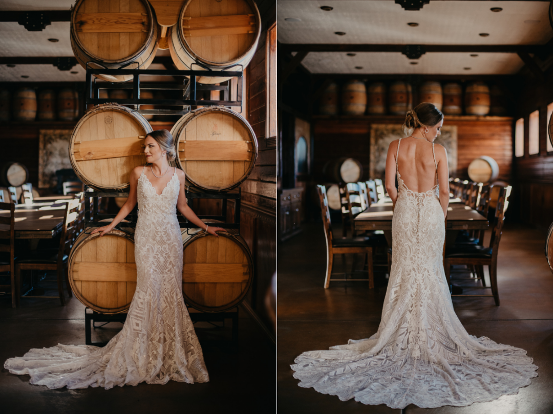 wedding dress model standing in barrel room front and back views
